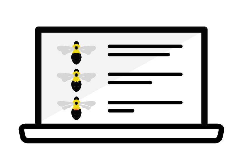 Icon of bumble bee guide on laptop.