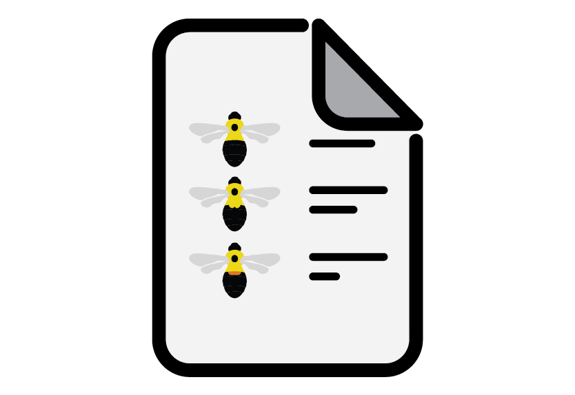 Icon of bumble bee guide on paper.